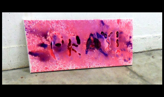 Spray painting 3 (Fruits and vegetable impressions, Gouche on Canvas) - Performance #3-RITUALIZE